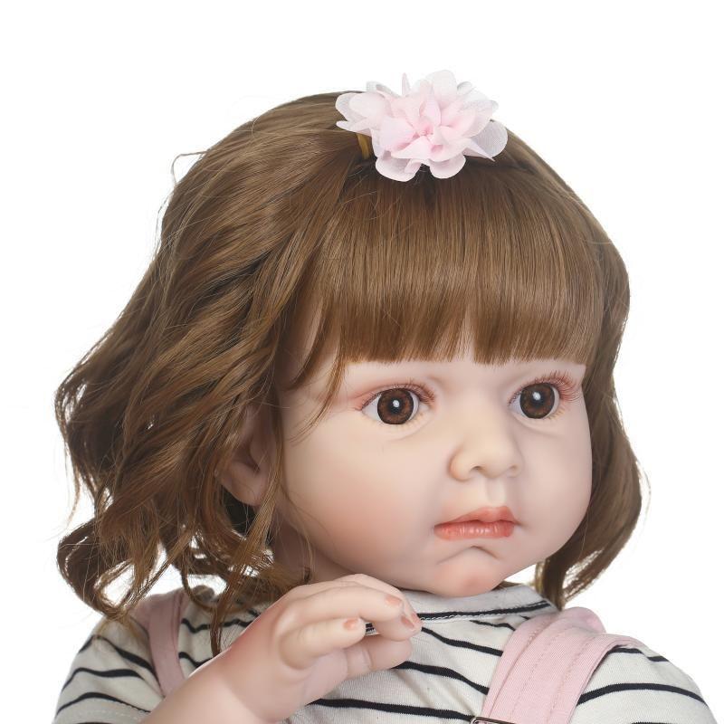 トドラー人形 プリンセスドール リボーンドール 抱き人形 約70cm 海外製ハンドメイド かわいい幼児ちゃん 衣装付き ブラウンのボブヘア ブラウンアイ 女の子
