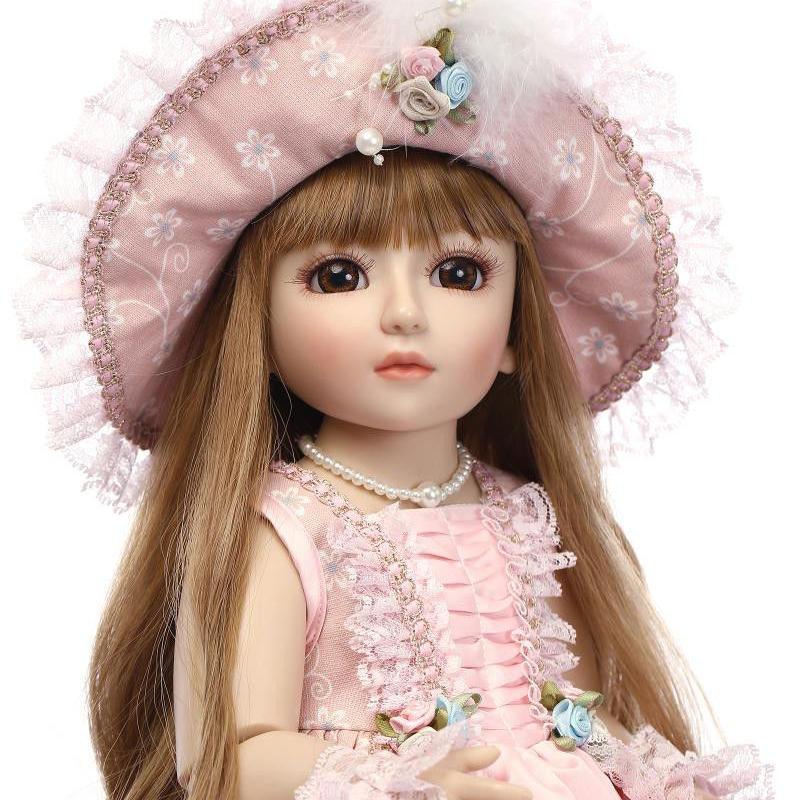 球体関節人形 BJD 衣装付き完成品 フルビニール 約45cm 女の子 美少女 お嬢様 お姫様 フランス人形/着せ替え人形/カスタムドール/BJD/SD/MSD好きに 金髪に帽子 上品ピンクドレス