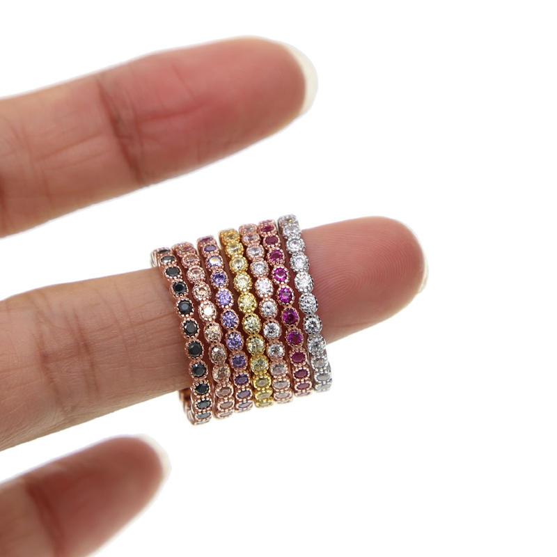 CZダイヤモンド シルバー925 7色から選べる 繊細なミル打ち フルエタニティリング エタニティリング