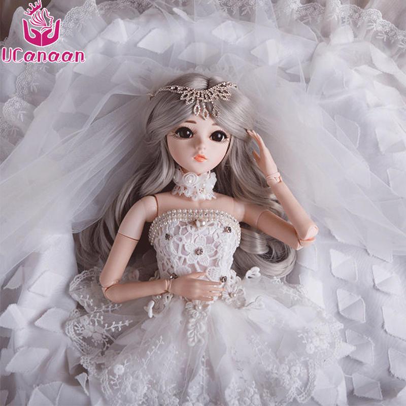 球体関節人形 BJD 衣装付き お姫様 お嬢様 白いウェディングドレス 女の子 プリンセスドール 60cm 美しい フランス人形/西洋人形/SD 新品