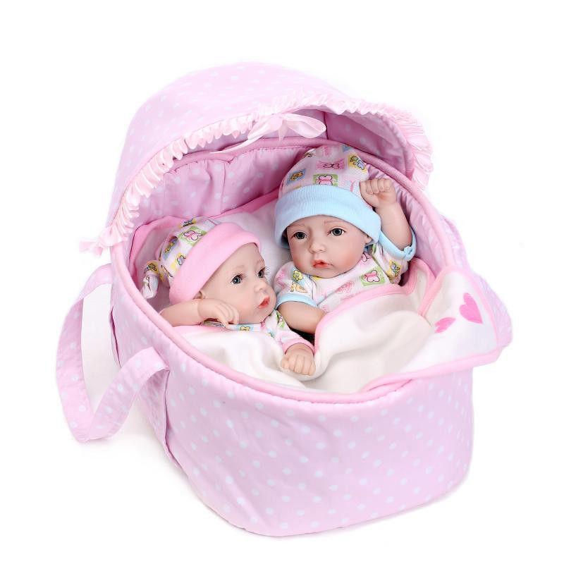 リボーンドール 男女の双子ちゃんセット フルシリコンビニール リアル赤ちゃん人形 ミニサイズ28cm 入浴可能 かわいいベビー人形 ベビーベッド クーハンつき