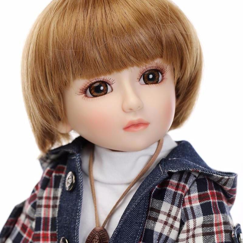 球体関節人形 BJD 衣装付き完成品 フルビニール 約45cm フランス人形/着せ替え人形/カスタムドール/BJD/SD/MSD好きに ボブヘア 女の子 男の子 ボーイッシュ ユニセックス