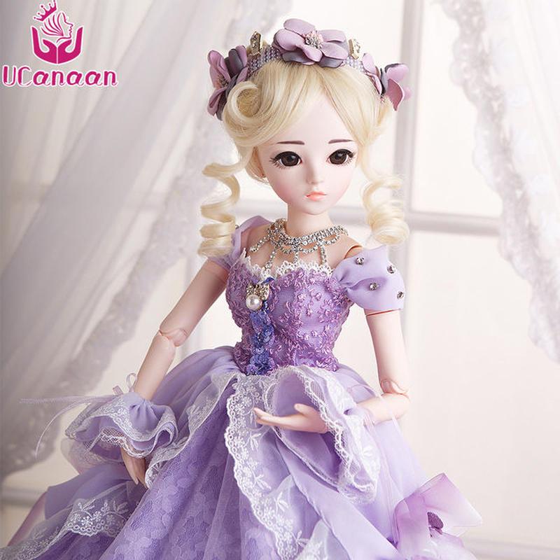 球体関節人形 BJD 衣装付き お姫様 お嬢様 女の子 プリンセスドール 60cmかわいいフランス人形/西洋人形/SD 金髪 紫ドレス 気品 上品 新品