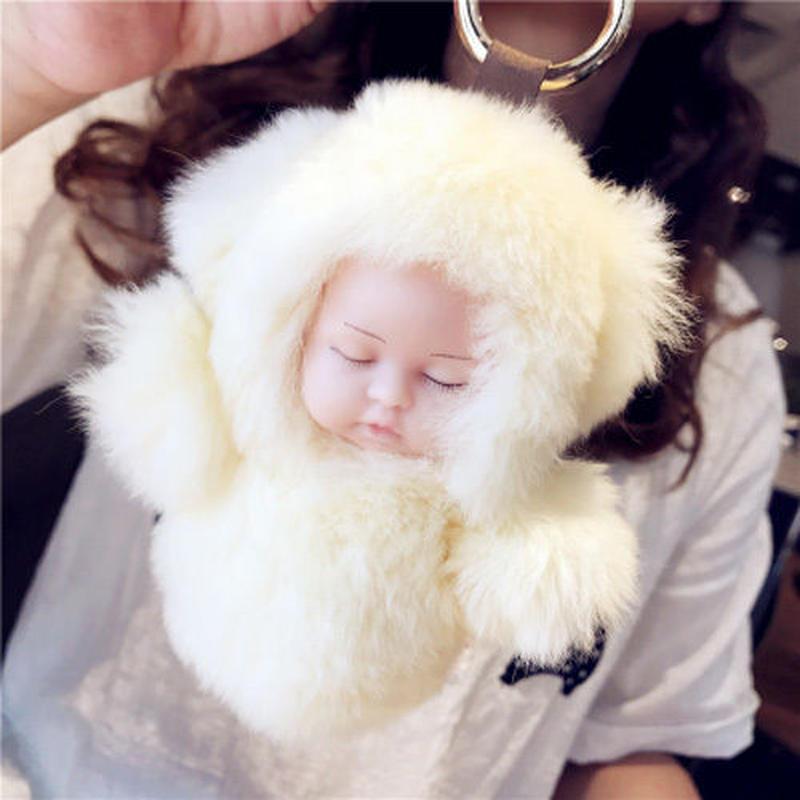 リアル赤ちゃん人形 キーホルダー ファーバッグチャーム 小さめモコモコ赤ちゃん人形 ふわふわキーリング リボーンドール プレゼント