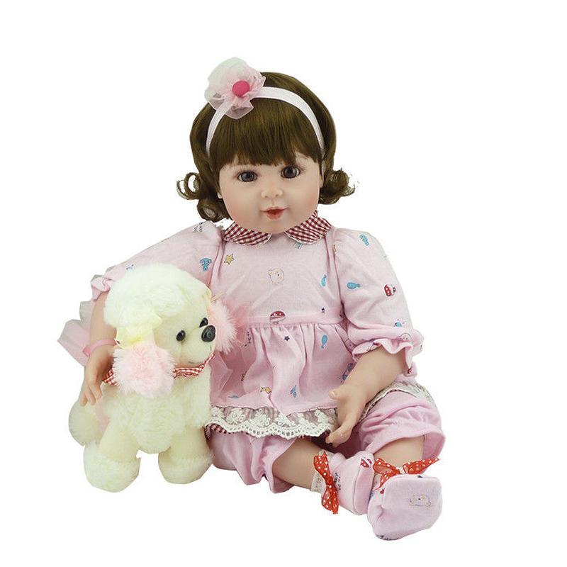 トドラー人形 プリンセスドール リボーンドール 抱き人形 高級ハンドメイド海外ドール 本物みたいなかわいい幼児ちゃん人形 衣装付き カーリーボブヘア 上品 聡明 優しそうなお嬢様 ワンちゃんと一緒
