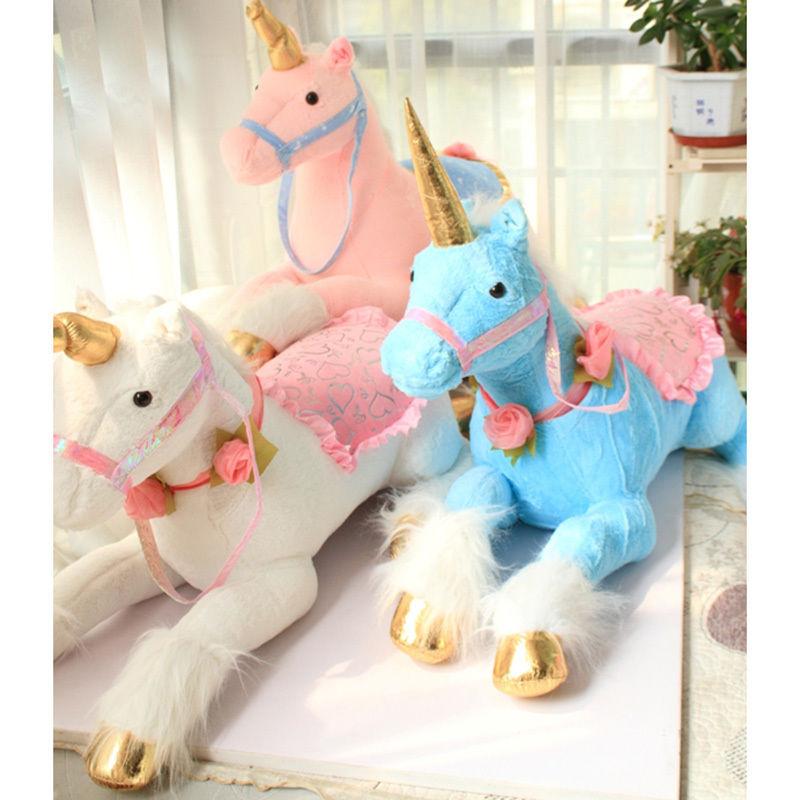 ユニコーン ぬいぐるみ 90cm 大きい 巨大 ビッグサイズ 馬 人形 ドール 乗れるクッションかわいい 子ども 孫 プレゼント 高級タイプ ピンク ブルー ホワイト