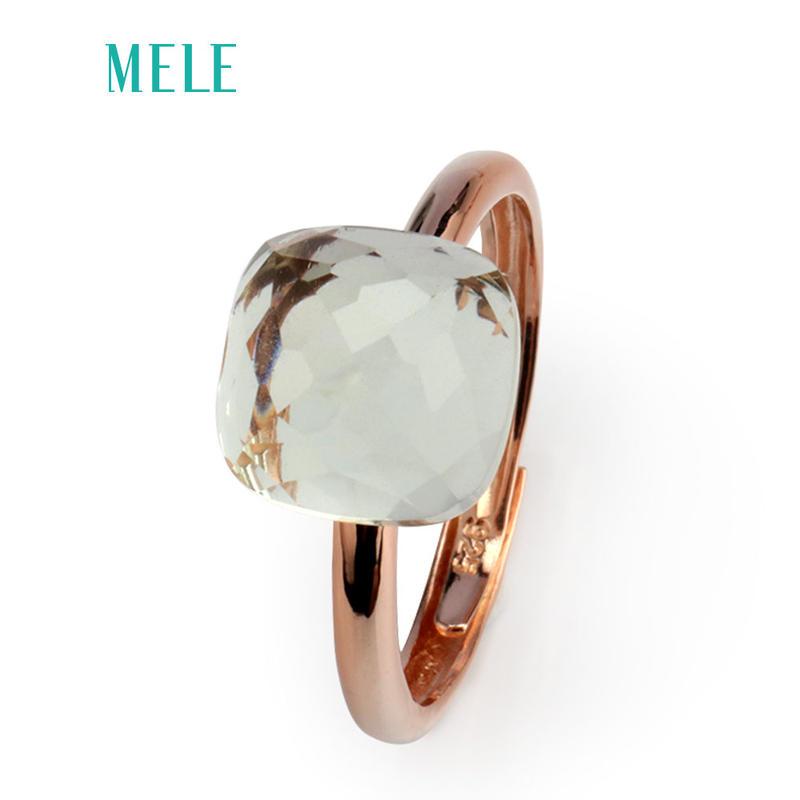グリーンアメジスト 大粒天然石リング 指輪 ピンクゴールド Silver925 ヌードリング インドジュエリー風 / ポメラート ヌードリング キャンディリング アズニ アムラパリ  お好きな方に