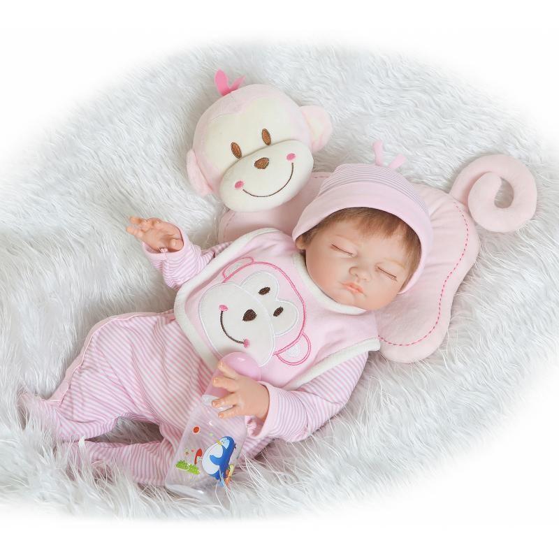 リボーンドール リアル赤ちゃん人形  フルハードシリコン  お風呂OK かわいいベビー人形 ハンドメイド海外ドール 衣装とおしゃぶり・哺乳瓶付き すやすやおねんね 熟睡中の赤ちゃん