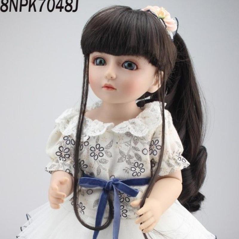 球体関節人形 BJD 衣装付き完成品 フルビニール 約45cm 女の子 美少女 お嬢様 お姫様 フランス人形/西洋人形/着せ替え人形/カスタムドール/BJD/SD/MSD好きに 黒髪 白ワンピ 清楚