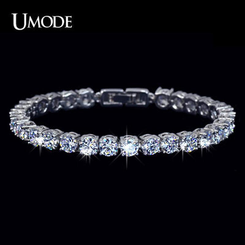 UMODE テニスブレスレット 高品質CZダイヤモンド 0.5カラット直径5mmボリュームタイプ ヨーロッパで大人気 / ティファニー スワロフスキー お好きな方に
