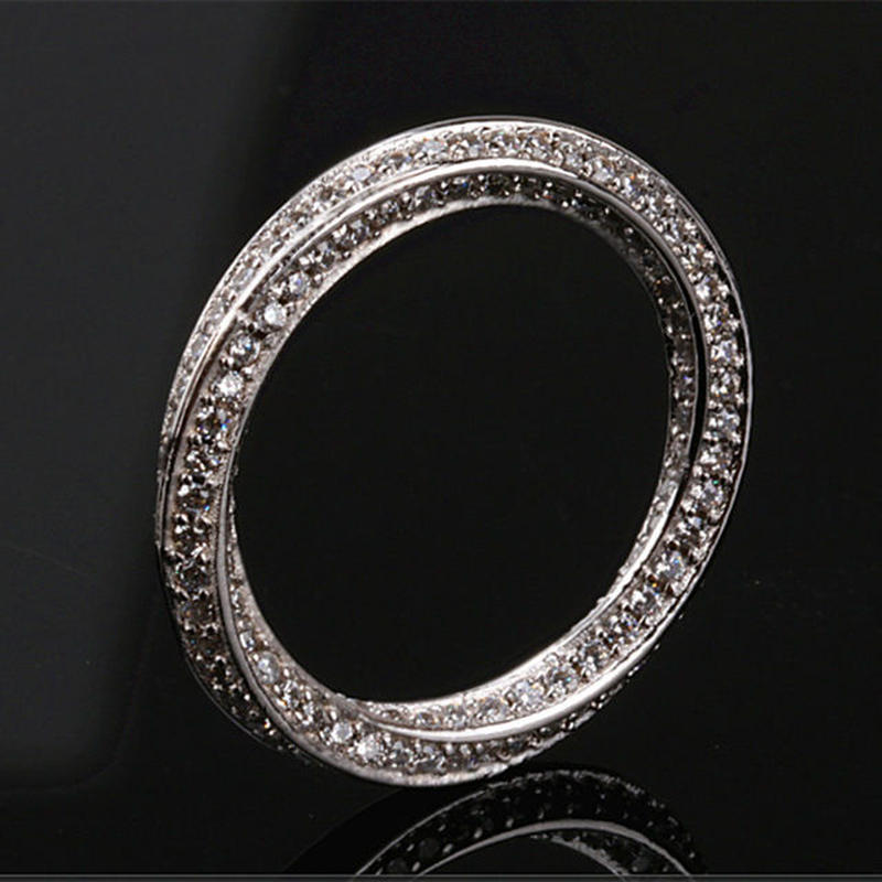 925スターリングシルバー CZダイヤモンド フルエタニティ ツイスト メビウスリング 指輪 キラキラ
