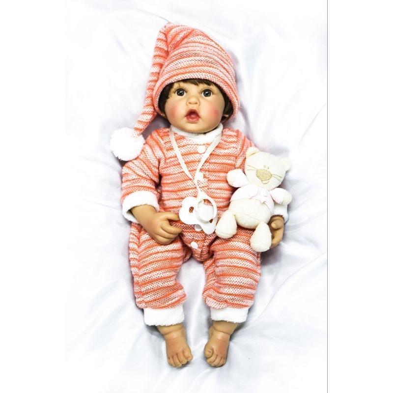 リボーンドール リアル赤ちゃん人形 女の子 入浴可能 フルシリコンビニール かわいいベビー人形 ハンドメイド 海外ドール ブラウンアイ かわいいお口の女の子