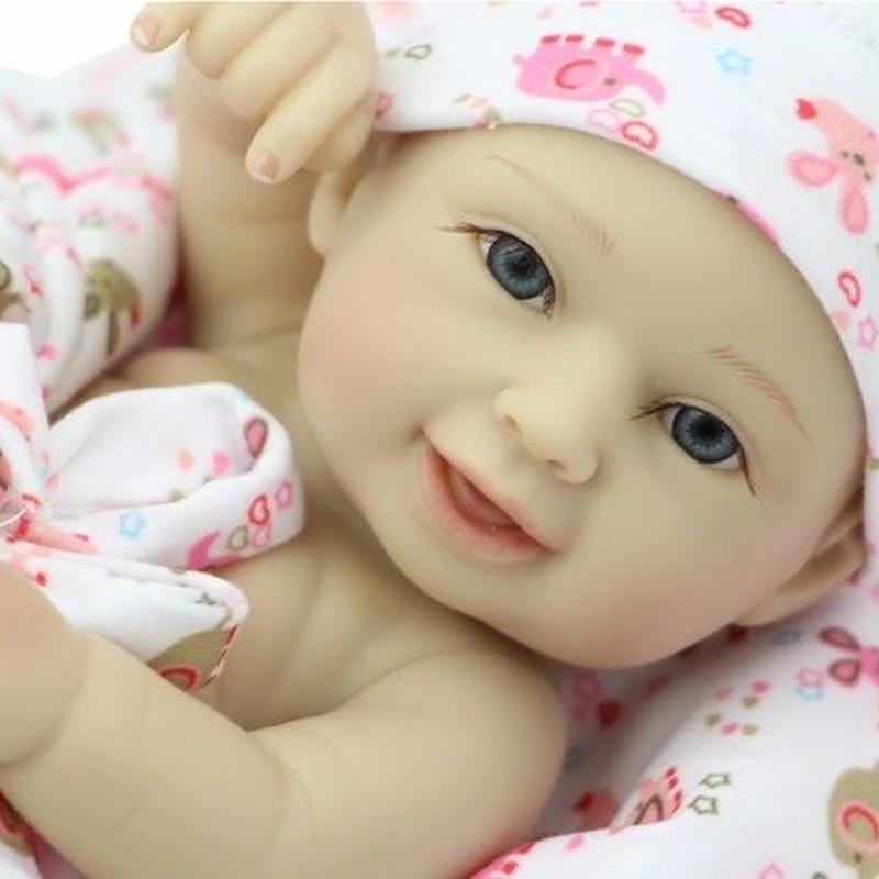 リボーンドール ミニサイズ お目目ぱっちり新生児 リアル赤ちゃん人形 ベビー人形 ベビードール ハンドメイド フルシリコンビニールの小さめ赤ちゃん