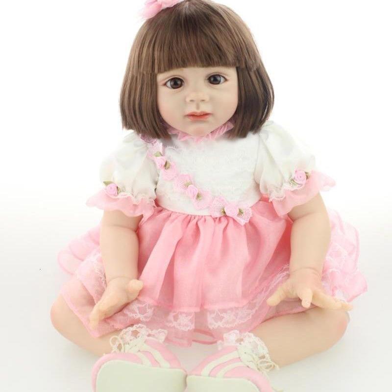 トドラー人形 プリンセスドール リボーンドール 抱き人形 約60cm 海外製ハンドメイド かわいい幼児ちゃん 衣装付き 上品なボブヘア ピンクのドレス ブラウンアイ 女の子