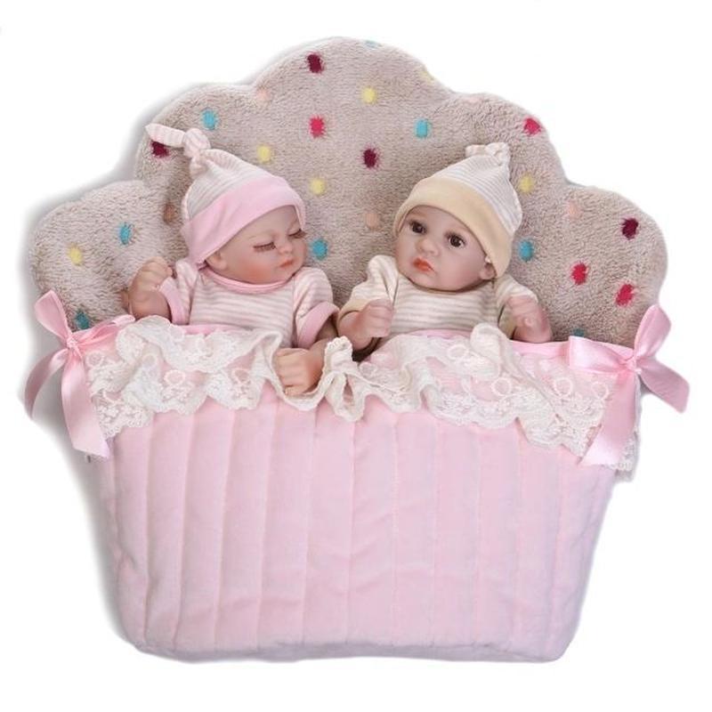 リボーンドール フルシリコンビニール リアル赤ちゃん人形 ミニサイズ25cm 入浴可能 かわいいベビー人形 双子ちゃんセット 新生児