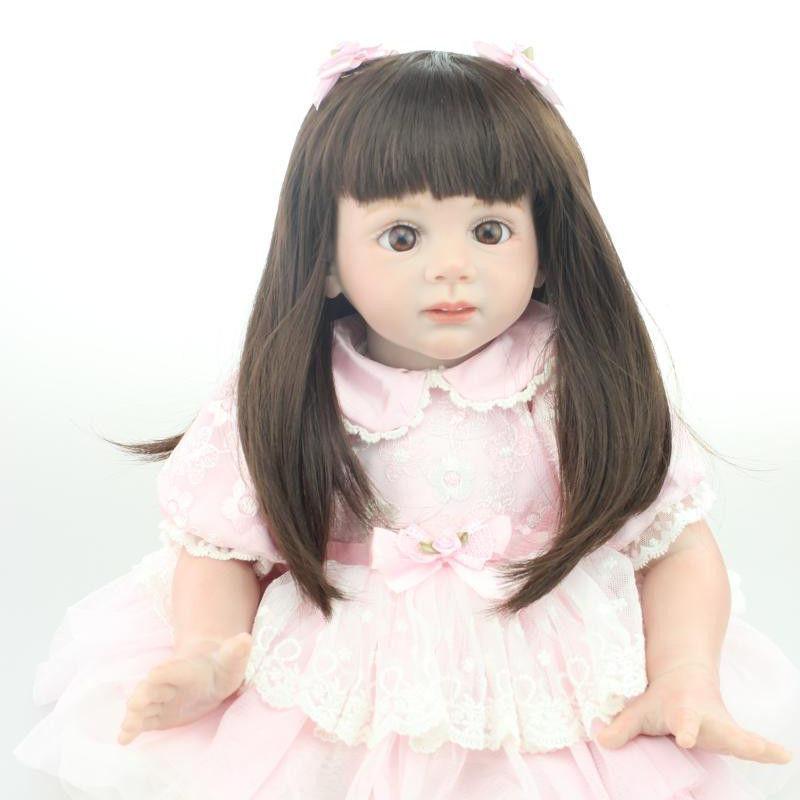トドラー人形 プリンセスドール リボーンドール 抱き人形 約60cm 海外製ハンドメイド かわいい幼児ちゃん 衣装付き セミロングヘア ピンクのドレス ブラウンアイ 女の子