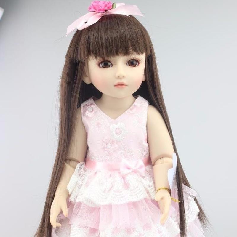 球体関節人形 BJD 衣装付き完成品 フルビニール 約45cm 女の子 美少女 お嬢様 お姫様 フランス人形/着せ替え人形/カスタムドール/BJD/SD/MSD好きに 黒髪ダークヘア ピンクドレス