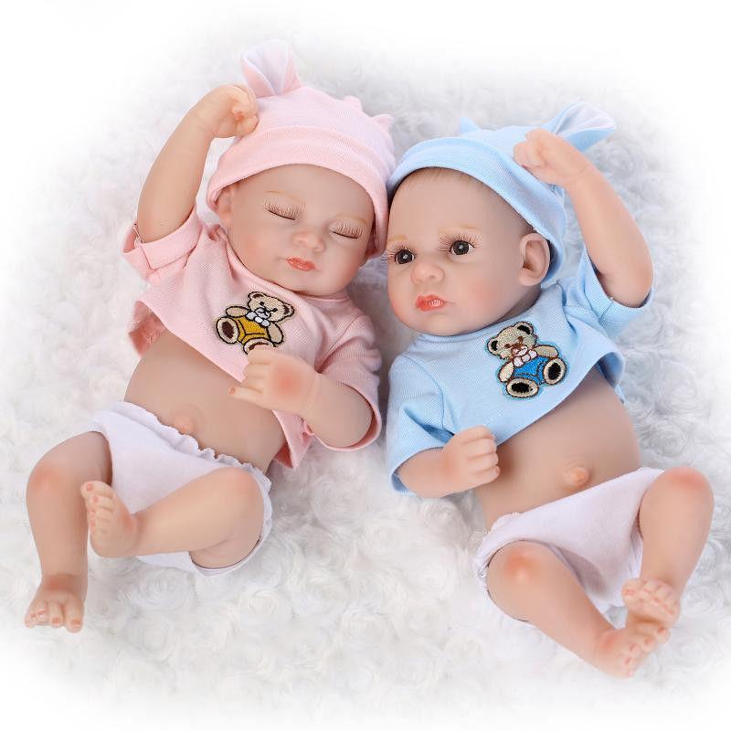 リボーンドール 男女の双子ちゃんセット フルシリコンビニール リアル赤ちゃん人形 ミニサイズ25cm 入浴可能 かわいいベビー人形 クマ耳お帽子