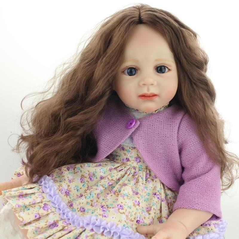トドラー人形 プリンセスドール リボーンドール 抱き人形 約60cm 海外製ハンドメイド かわいい幼児ちゃん 衣装付き ブラウンのウェーブヘア ブルーorブラウンアイ 女の子