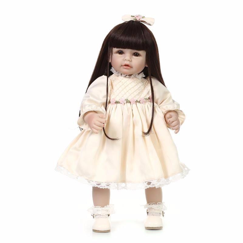 トドラー人形 プリンセスドール リボーンドール 抱き人形 高級ハンドメイド海外ドール かわいい幼児ちゃん人形 衣装付き 黒髪ロングヘア 黄色ドレス 立てるお人形