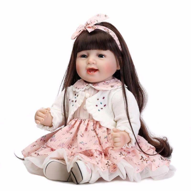 トドラー人形 リボーンドール プリンセスドール 抱き人形 高級ハンドメイド海外ドール かわいい幼児ちゃん人形 衣装付き 黒髪ロングヘア あどけない笑顔の女の子 お嬢様 お姫様