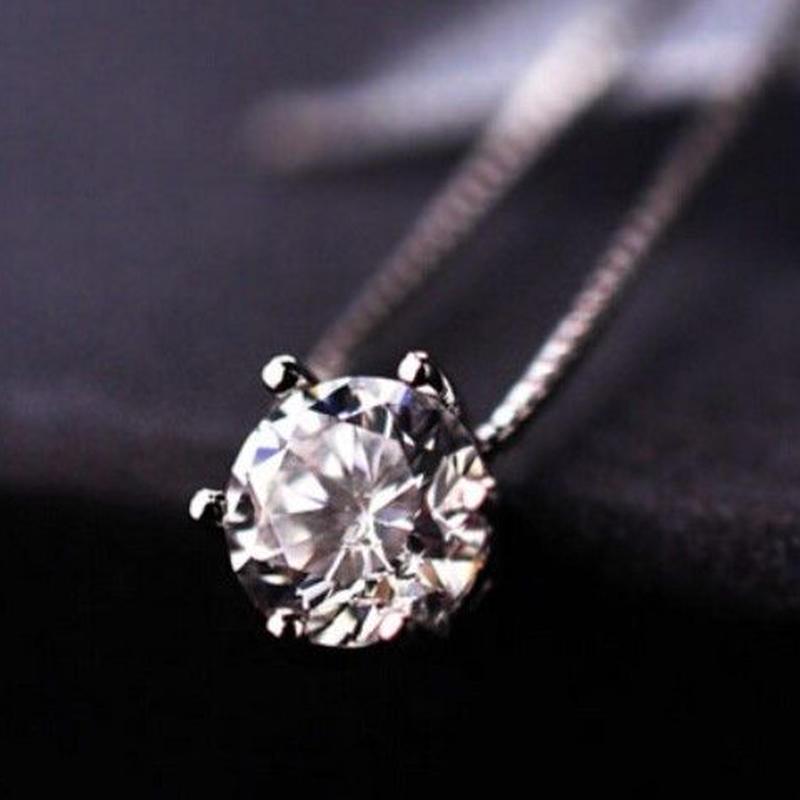 CZダイヤモンドネックレス 大粒CZダイヤ一粒 シルバー ベネチアンチェーン キラキラ 大人のジュエリー アクセサリー レディース 女性 プレゼント