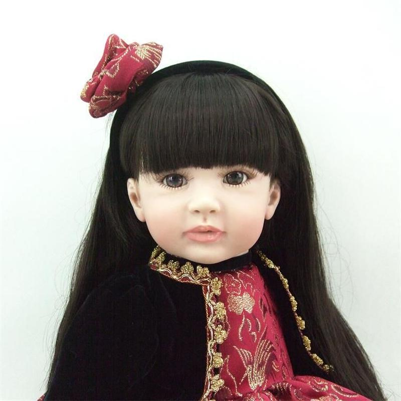 リボーンドールトドラー 抱き人形 プリンセスドール 西洋人形 女の子 お嬢様 お姫様人形 ベビードール 綿ボディ 黒髪ロングヘア シック