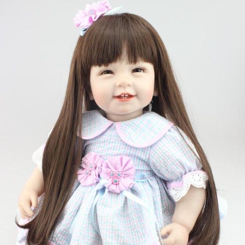 トドラー人形 プリンセスドール リボーンドール 抱き人形 高級ハンドメイド海外ドール かわいい幼児ちゃん人形 衣装付き ダーク髪ロングヘア 満面の笑顔の女の子 水色ドレスのお嬢様 お姫様