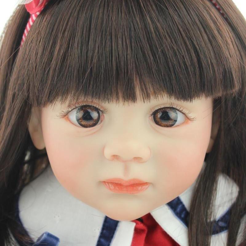 トドラー人形 プリンセスドール リボーンドール 抱き人形 約60cm 海外製ハンドメイド かわいい幼児ちゃん 衣装付き ダークブラウンのセミロングヘア ブラウンアイ 女の子