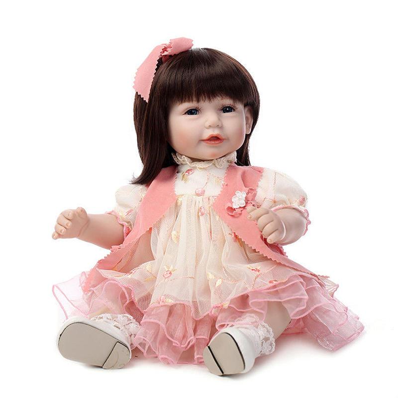 トドラー人形 プリンセスドール リボーンドール 抱き人形 高級ハンドメイド海外ドール かわいい幼児ちゃん人形 衣装付き セミロングヘア 女の子 ピンクのひらひらワンピースお嬢様