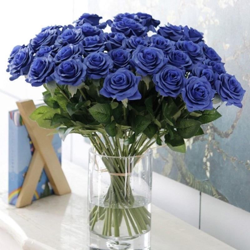 バラ 高級造花 大量25本 薔薇 ローズ アートフラワー シルクフラワー アレンジメント 花束 ブーケ プレゼント お祝い 結婚式 青 ブルー