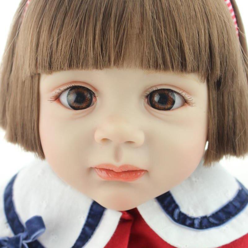 トドラー人形 プリンセスドール リボーンドール 抱き人形 約60cm 海外製ハンドメイド かわいい幼児ちゃん 衣装付き ブラウンのおかっぱボブヘア ブラウンアイ 女の子