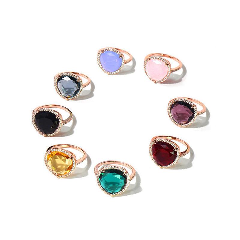 大粒天然石風 クリスタルドロップ キャンディリング CZダイヤモンド取り巻きタイプ 選べるカラー&地金