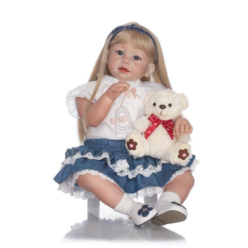 トドラー人形 プリンセスドール リボーンドール 抱き人形 約70cm 海外製ハンドメイド かわいい幼児ちゃん 衣装付き 金髪ロングヘア ブルーアイ 女の子