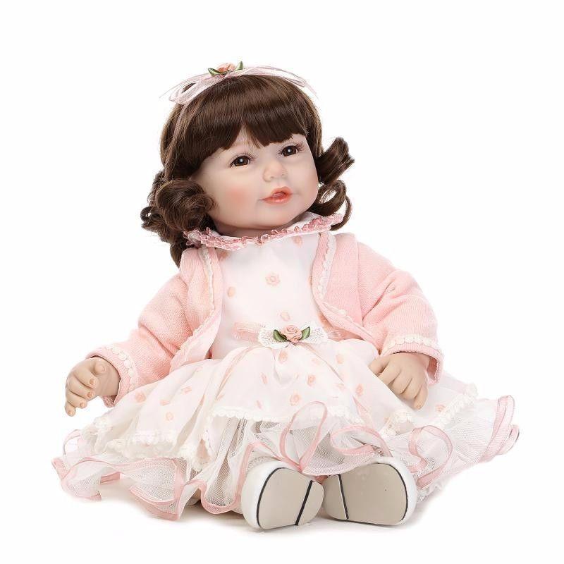 トドラー人形 プリンセスドール リボーンドール 抱き人形 高級ハンドメイド海外ドール かわいい幼児ちゃん人形 衣装付き 上品 ブラウンカールヘアの女の子