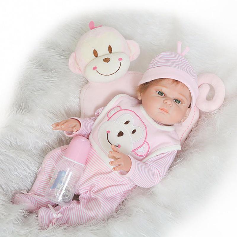 リボーンドール リアル赤ちゃん人形 フルシリコンビニール かわいいベビー人形お世話セット 入浴可能 女の子 ぱっちりお目目 ピンクの元気な赤ちゃん