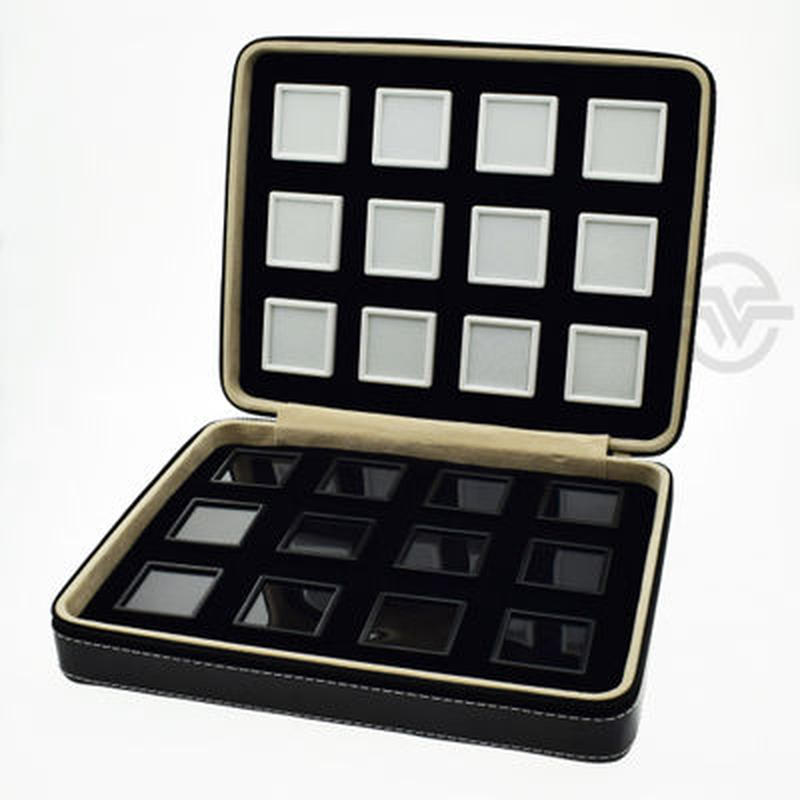 宝石ルースケース24個+トランクボックスセット レザー調 大量 携帯用 ポータブル トラベル 原石ディスプレイ トランクショー 展示会 黒 革