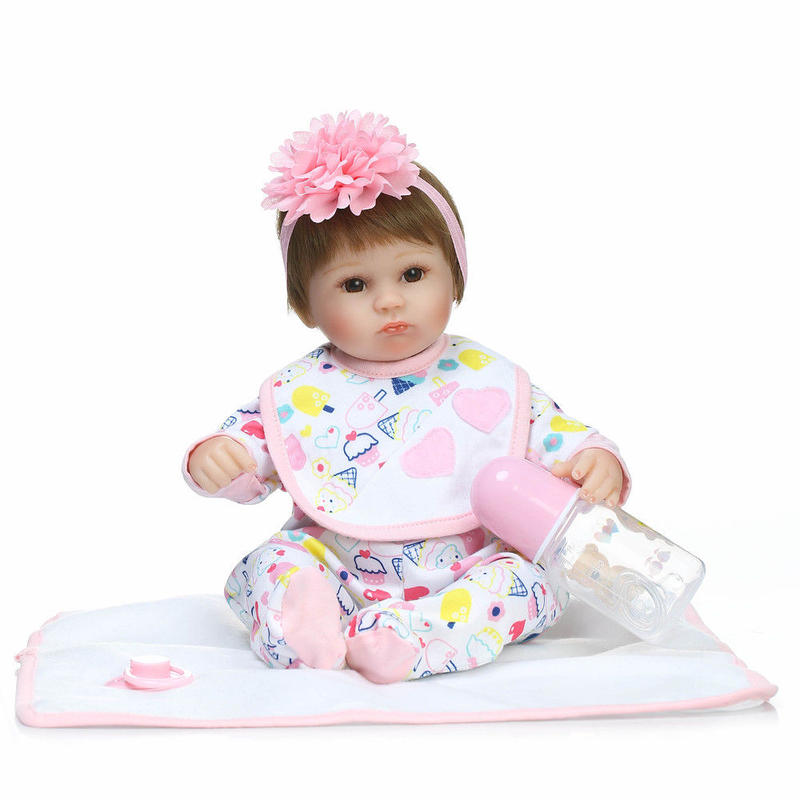 リボーンドール リアル赤ちゃん人形 小さめ40cm かわいいベビー人形 ハンドメイド海外ドール 衣装とおしゃぶり・哺乳瓶付き おすまし顔 素敵なヘッドドレスの乳児ちゃん