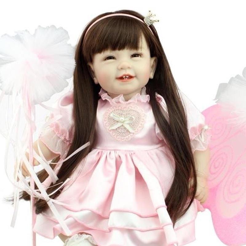 リボーンドール プリンセス トドラードール 抱き人形 赤ちゃん ベビードール 女の子 お嬢様 お姫様 ハンドメイド 高級 服 衣装付き かわいい ロングヘア 笑顔 妖精の羽 ピンクドレス フェアリー