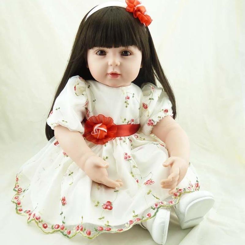 トドラー人形 プリンセスドール リボーンドール 抱き人形 高級ハンドメイド海外ドール かわいい幼児ちゃん人形 衣装付き 黒髪ロングヘア 上品 聡明 優しそうなお嬢様 白と赤の花柄ドレス