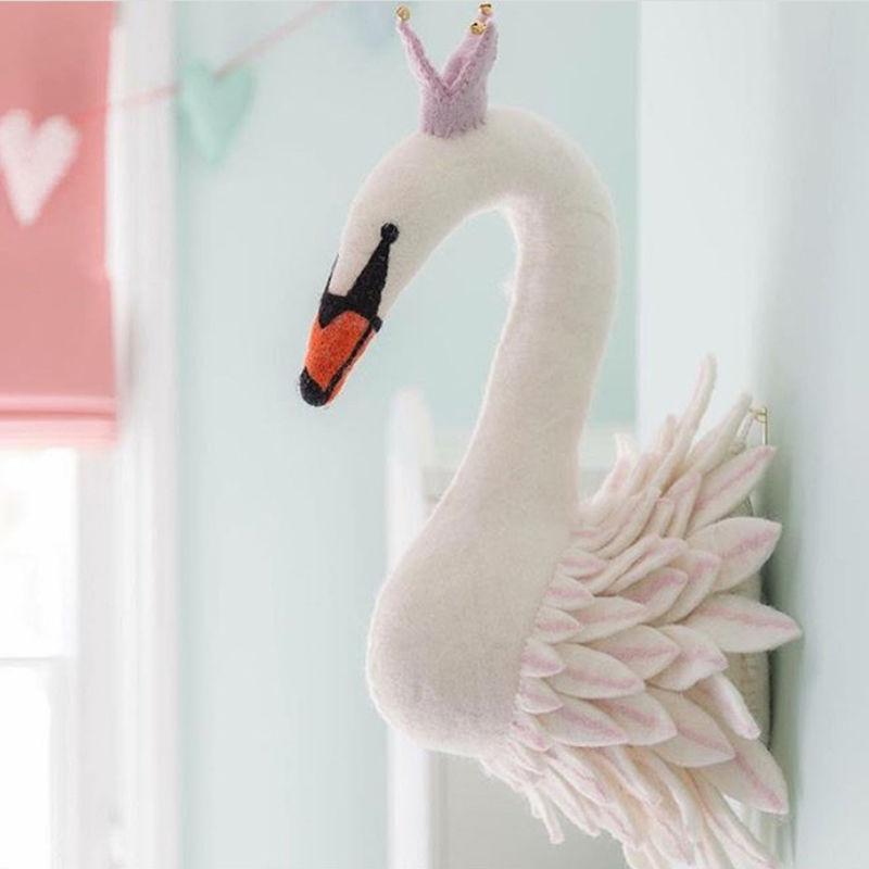 キッズルームデコレーション 白鳥 鳥 スワン 高級タイプ 北欧風 ぬいぐるみ壁飾り ウォールデコレーション 夢の子供部屋