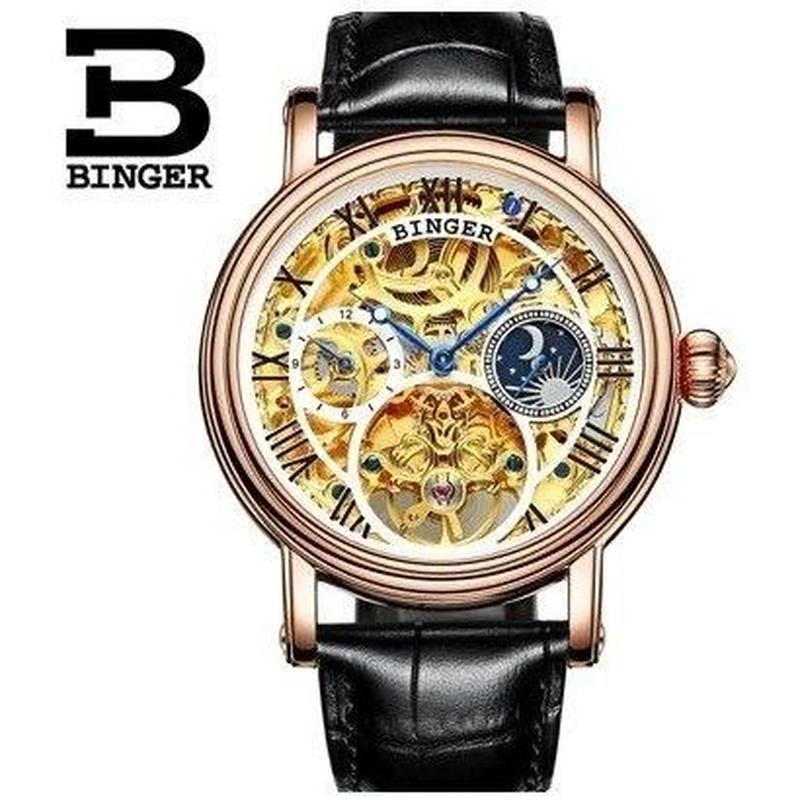 sports shoes 3efcc 1f3a5 BINGER メンズ腕時計トゥールビヨン 機械式 スケルトン 海外 ...