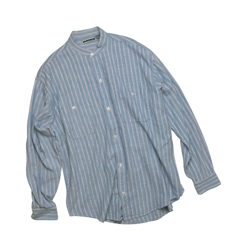 "USED ""BAND COLLAR"" STRIPED SHIRT"