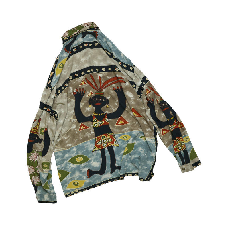 USED AFRICAN PATTERN L/S SHIRT