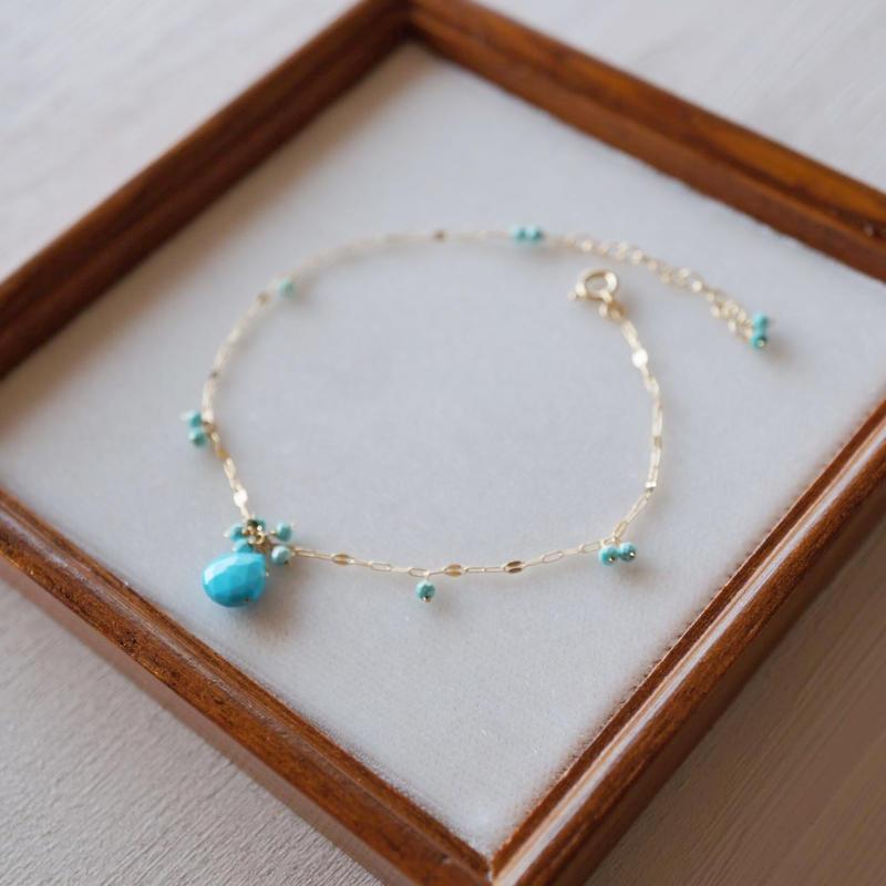【K18】スリーピングビューティーターコイズ+ターコイズのブレスレット/Sleeping beauty turquoise + turquoise  bracelet