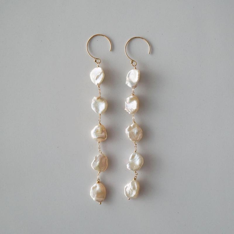 【14kgf】ケシパールのロングピアス/Keshi pearl earrings