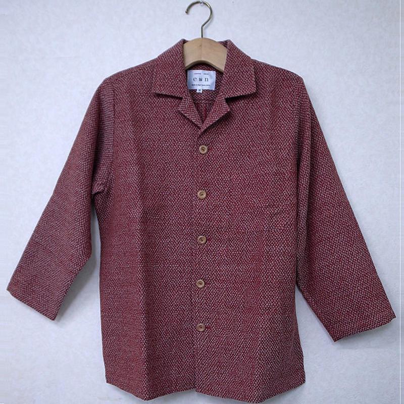 オリエンタル アロハシャツ (男性Mサイズ長袖)赤絞り模様