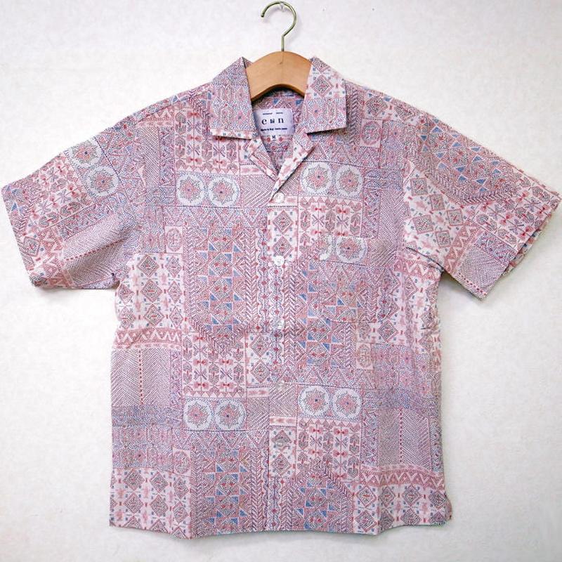 オリエンタル アロハシャツ (男性Mサイズ半袖)ワッフル地
