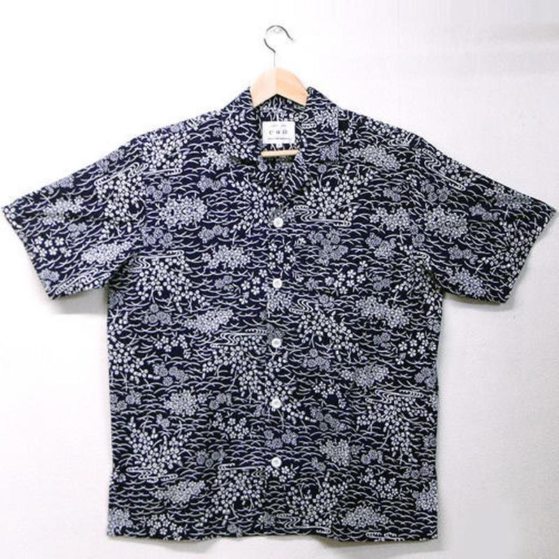 オリエンタル アロハシャツ(3Lサイズ) 濃紺×白・紅葉、菊、撫子柄