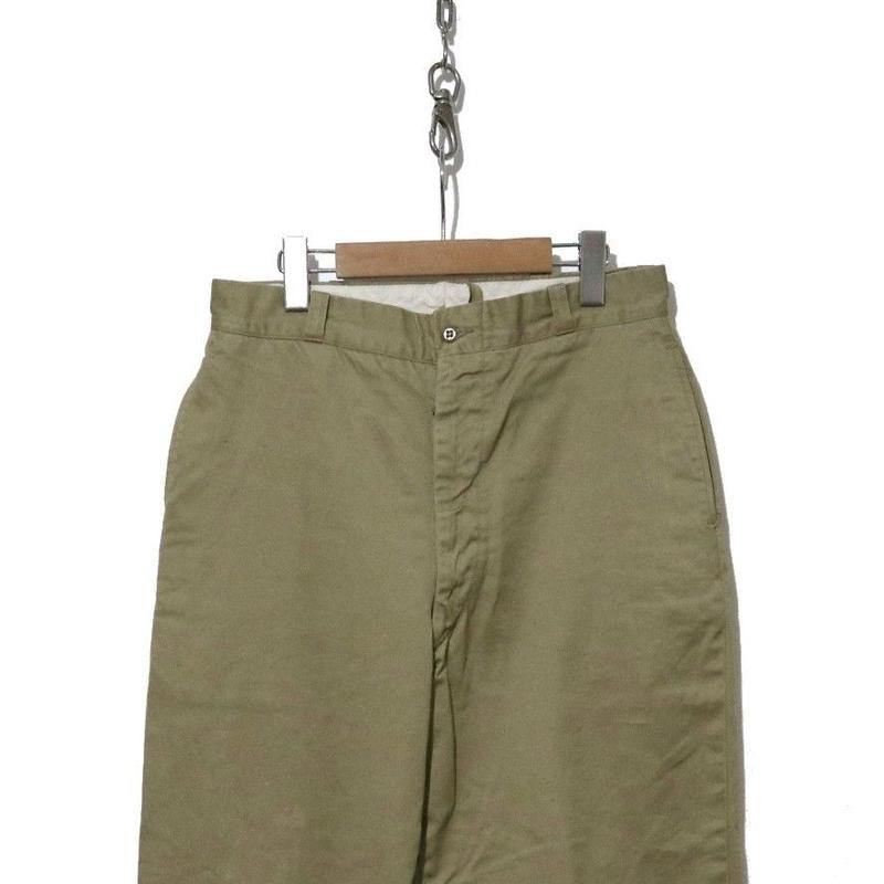 60's US ARMY Chino Trousers Cotton Khaki W32×L31